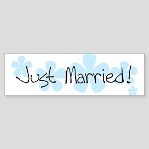 Blue Flowers Just Married Bumper Sticker