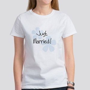 Blue Flowers Just Married Women's T-Shirt