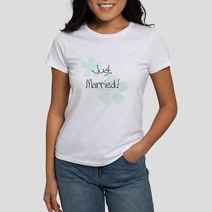 Green Flowers Just Married Women's T-Shirt