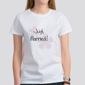 Pink Flowers Just Married Women's T-Shirt