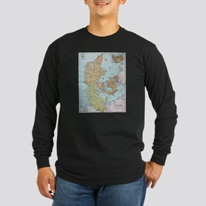 Vintage Map of Denmark (1905) Long Sleeve T-Shirt