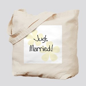 Yellow Flowers Just Married Tote Bag