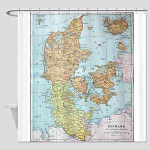 Vintage Map of Denmark (1905) Shower Curtain