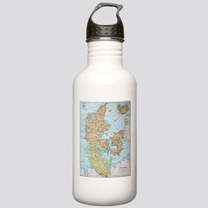 Vintage Map of Denmark Stainless Water Bottle 1.0L