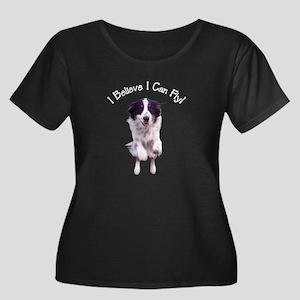 Flyin' Women's Plus Size Scoop Neck Dark T-Shirt