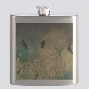 Crows And Clouds Flask