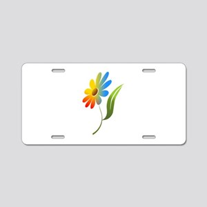 Rainbow Flower Aluminum License Plate