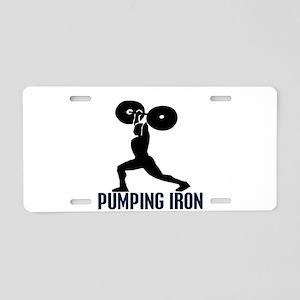 pumping_iron Aluminum License Plate