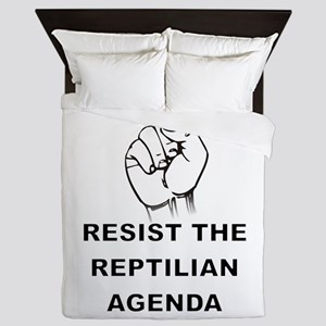 Resist The Reptilian Agenda Queen Duvet