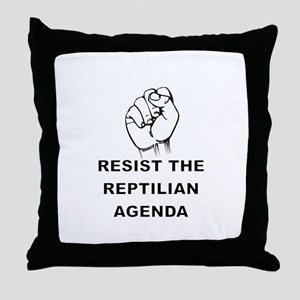 Resist The Reptilian Agenda Throw Pillow