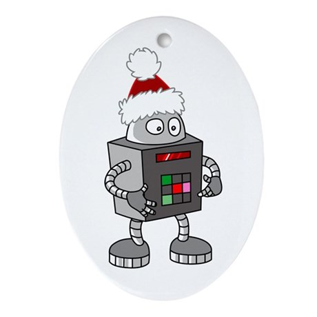Christmas Robot Oval Ornament