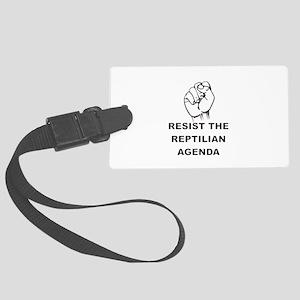 Resist The Reptilian Agenda Large Luggage Tag