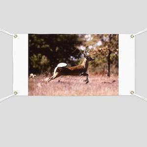 White-Tail Deer Running Banner
