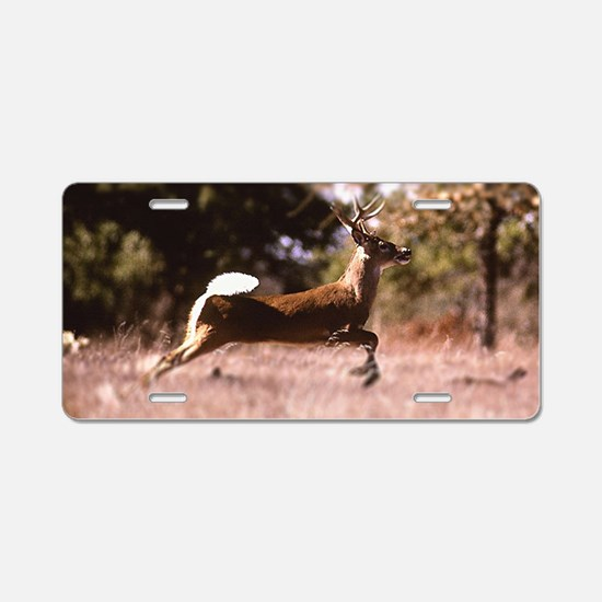 White-Tail Deer Running Aluminum License Plate