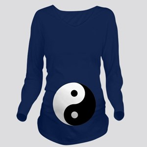 Yin And Yang Dark Long Sleeve Maternity T-Shirt