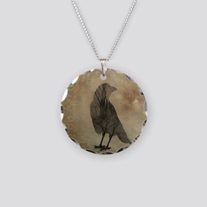 Vintage Corvidae Necklace Circle Charm