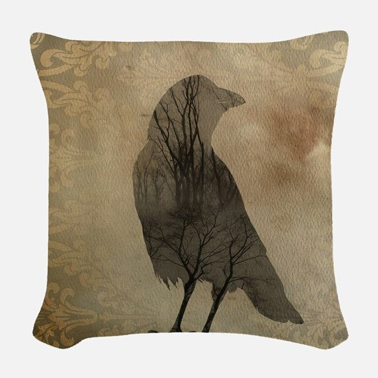 Vintage Corvidae Woven Throw Pillow