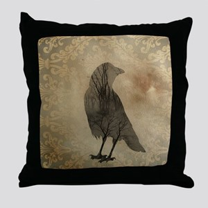 Vintage Corvidae Throw Pillow