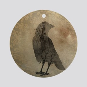 Vintage Corvidae Round Ornament