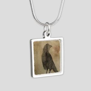 Vintage Corvidae Silver Square Necklace