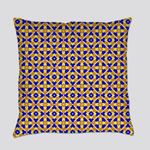 Orange Blue And Yellow Floral Everyday Pillow