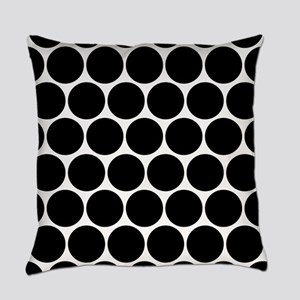 Black And White Polka Dotted Everyday Pillow
