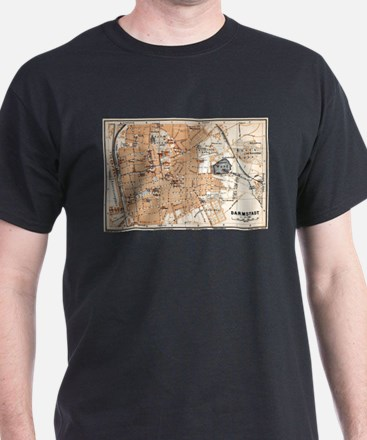 Vintage Map of Darmstadt Germany (1905) T-Shirt
