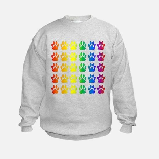 Rainbow Paw Print Pattern Sweatshirt