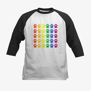 Rainbow Paw Print Pattern Baseball Jersey