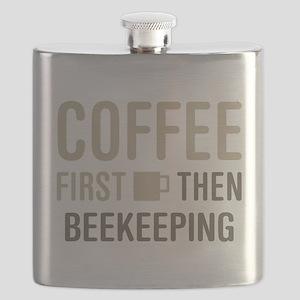 Coffee Then Beekeeping Flask