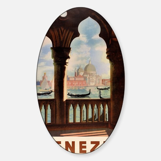 Venice Venezia Vintage Travel Poste Sticker (Oval)