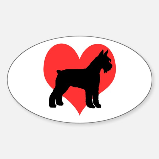 Red Heart Schnauzer Oval Decal