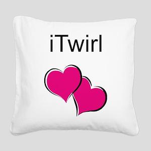 iTwirl Baton Square Canvas Pillow