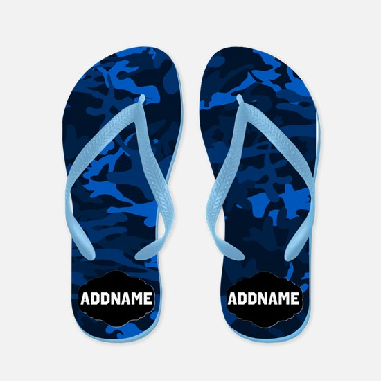 Black And Blue Camo Flip Flops