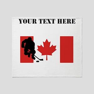 Hockey Player Canadian Flag Throw Blanket