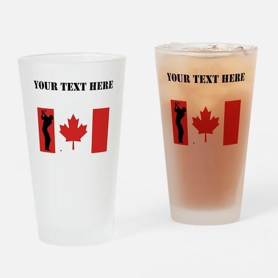 Golf Shot Canadian Flag Drinking Glass