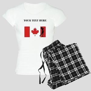 Woman Golfer Canadian Flag Pajamas