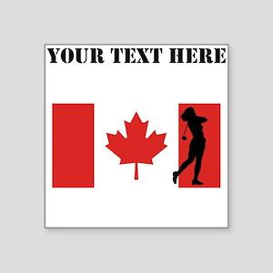 Woman Golfer Canadian Flag Sticker