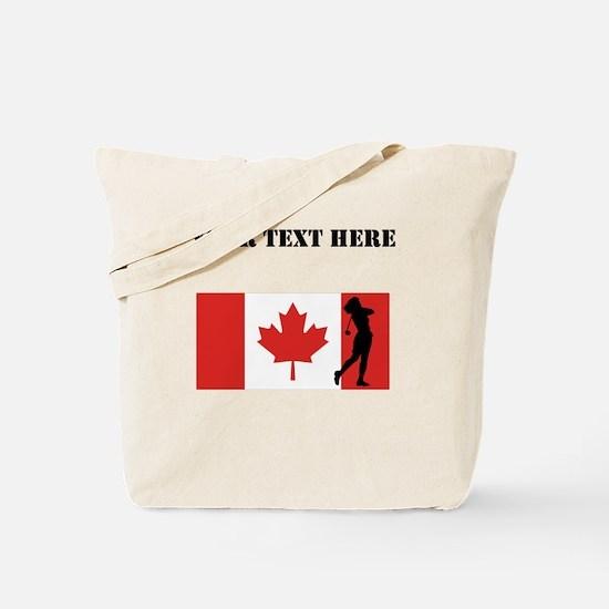Woman Golfer Canadian Flag Tote Bag