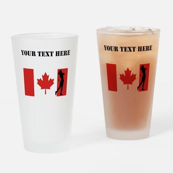 Woman Golfer Canadian Flag Drinking Glass