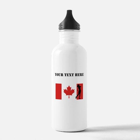 Woman Golfer Canadian Flag Water Bottle