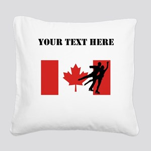 Figure Skaters Canadian Flag Square Canvas Pillow