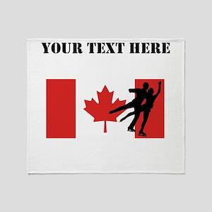 Figure Skaters Canadian Flag Throw Blanket