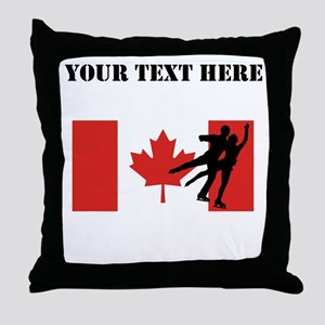 Figure Skaters Canadian Flag Throw Pillow