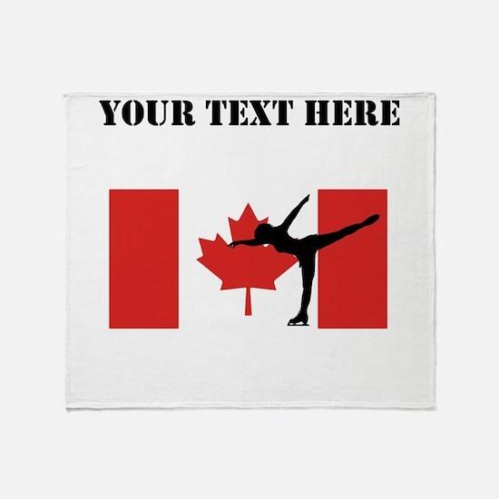 Figure Skater Canadian Flag Throw Blanket