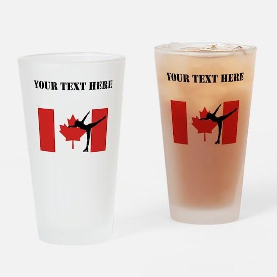 Figure Skater Canadian Flag Drinking Glass