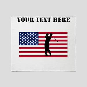 Golfer American Flag Throw Blanket