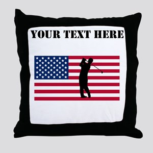 Golfer American Flag Throw Pillow
