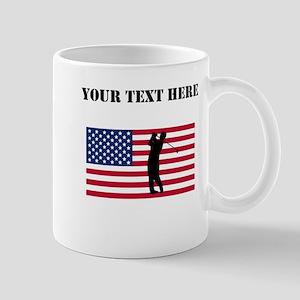Golfer American Flag Mugs