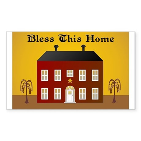 Folk Art Home Rectangle Sticker